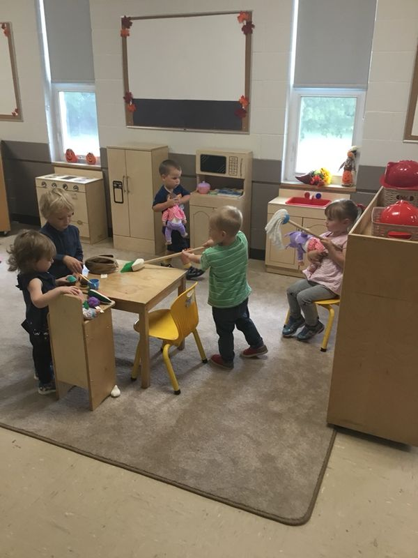 "Sharing is caring here at ABC Co-op! Everyone is working together as a ""family"" to help tidy their house and care for the babies!"